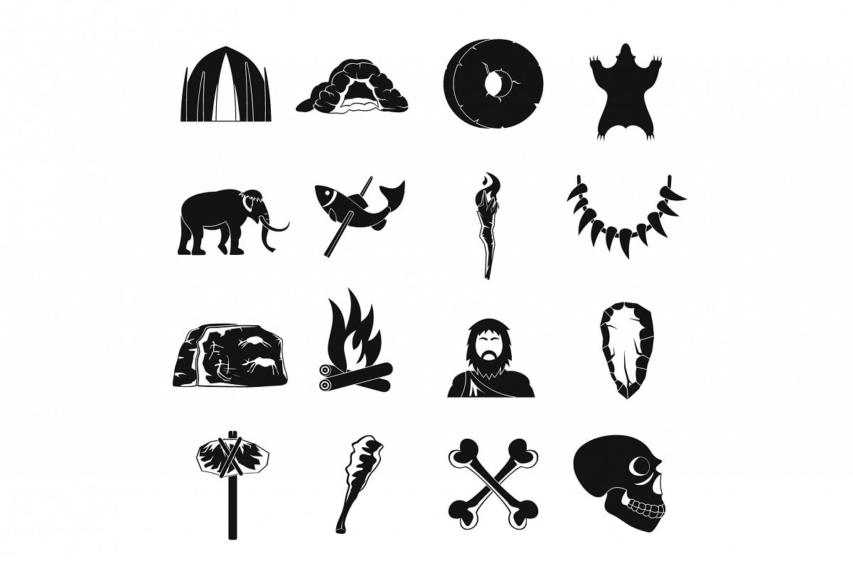 Caveman icons set, simple style example image 1