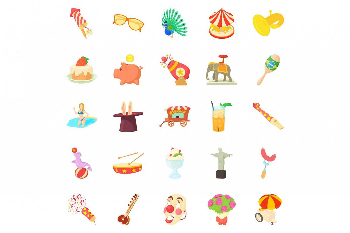 Festivities icons set, cartoon style example image 1