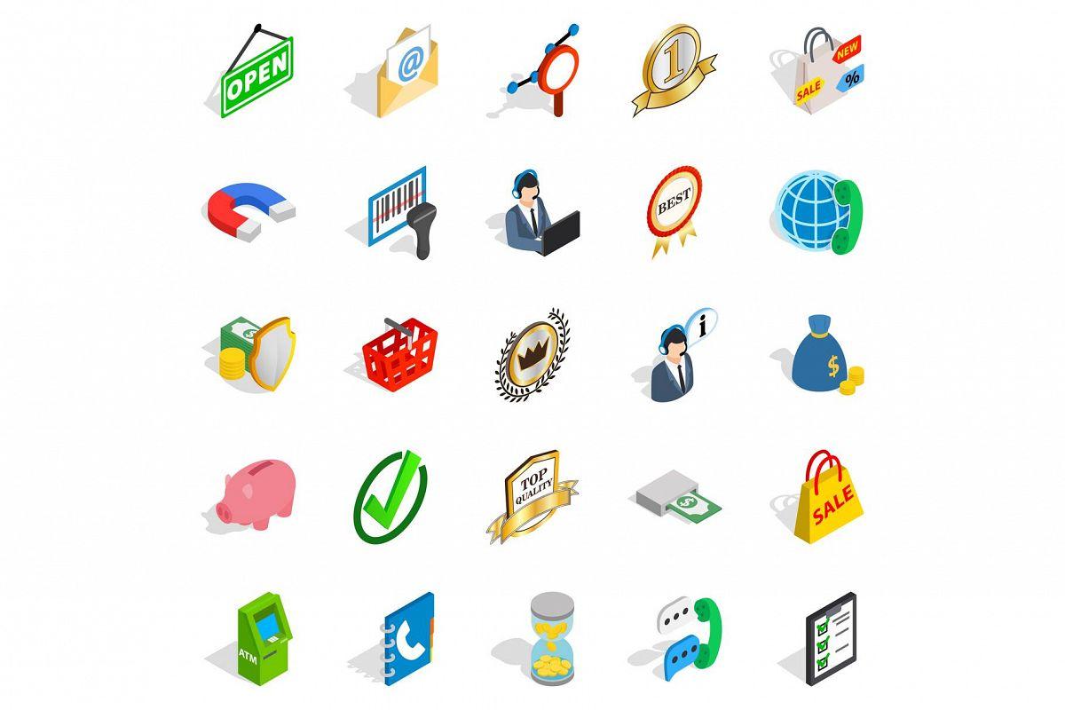 Business center icons set, isometric style example image 1