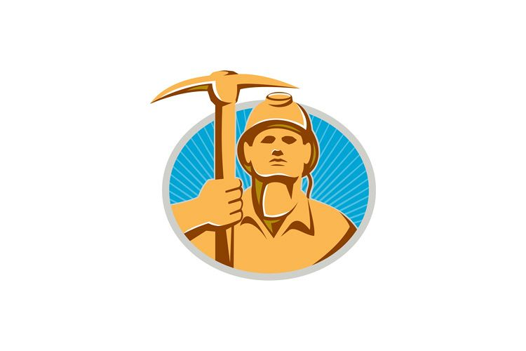 Coal Miner With Pick Ax Hardhat Front Retro example image 1