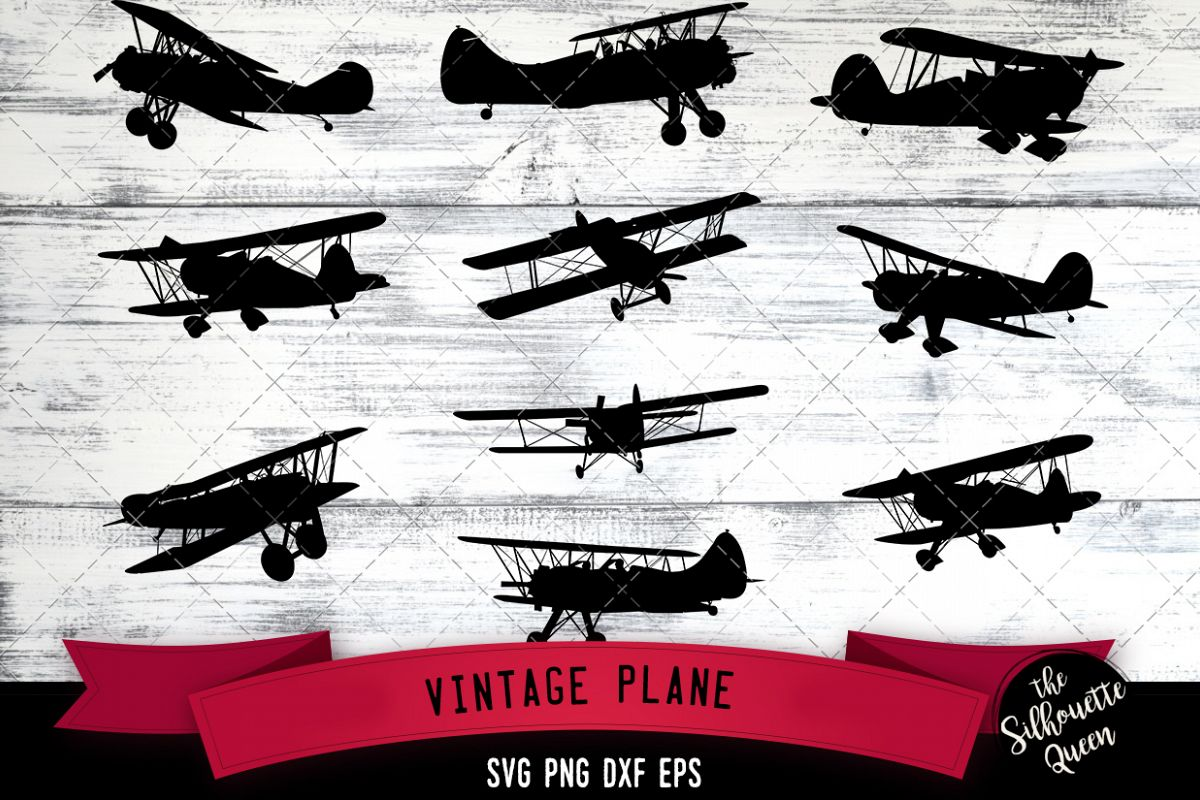 Vintage Plane svg file, aircraft airplane svg cut file example image 1