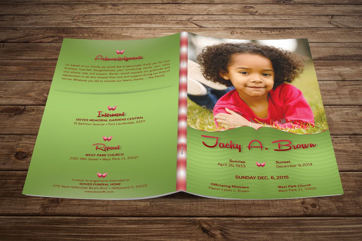 Child Funeral Program Template Photoshop Example Image 1