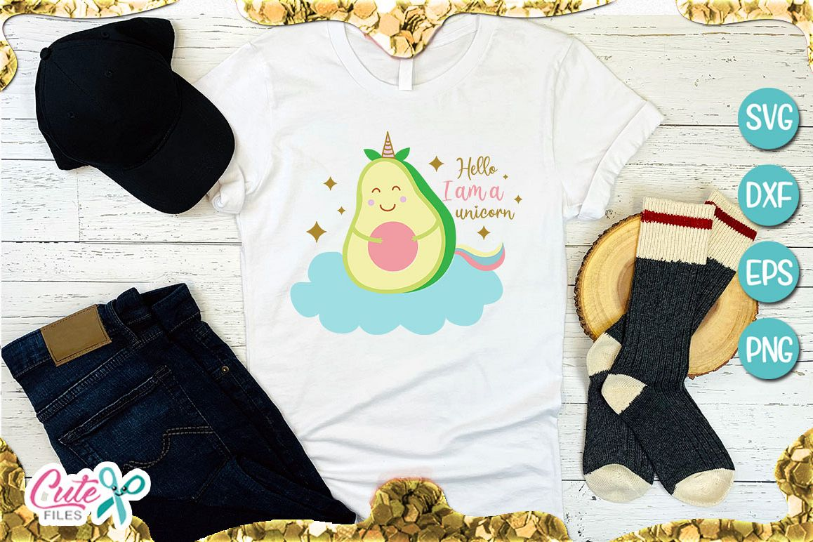 Avocado unicorn SVG for crafter example image 1