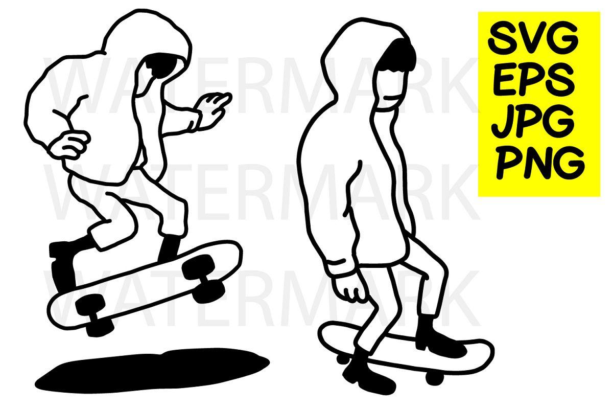 Hoodie Boy Skating- SVG-EPS-JPG-PN example image 1