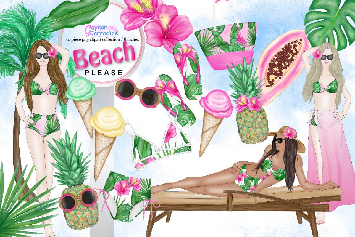 Beach Please Fashion Clipart Collection example image 1