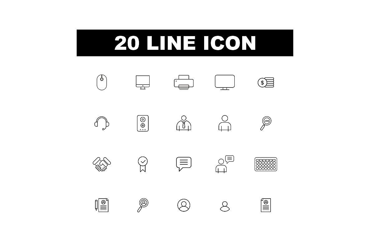 20 Line Icon example image 1