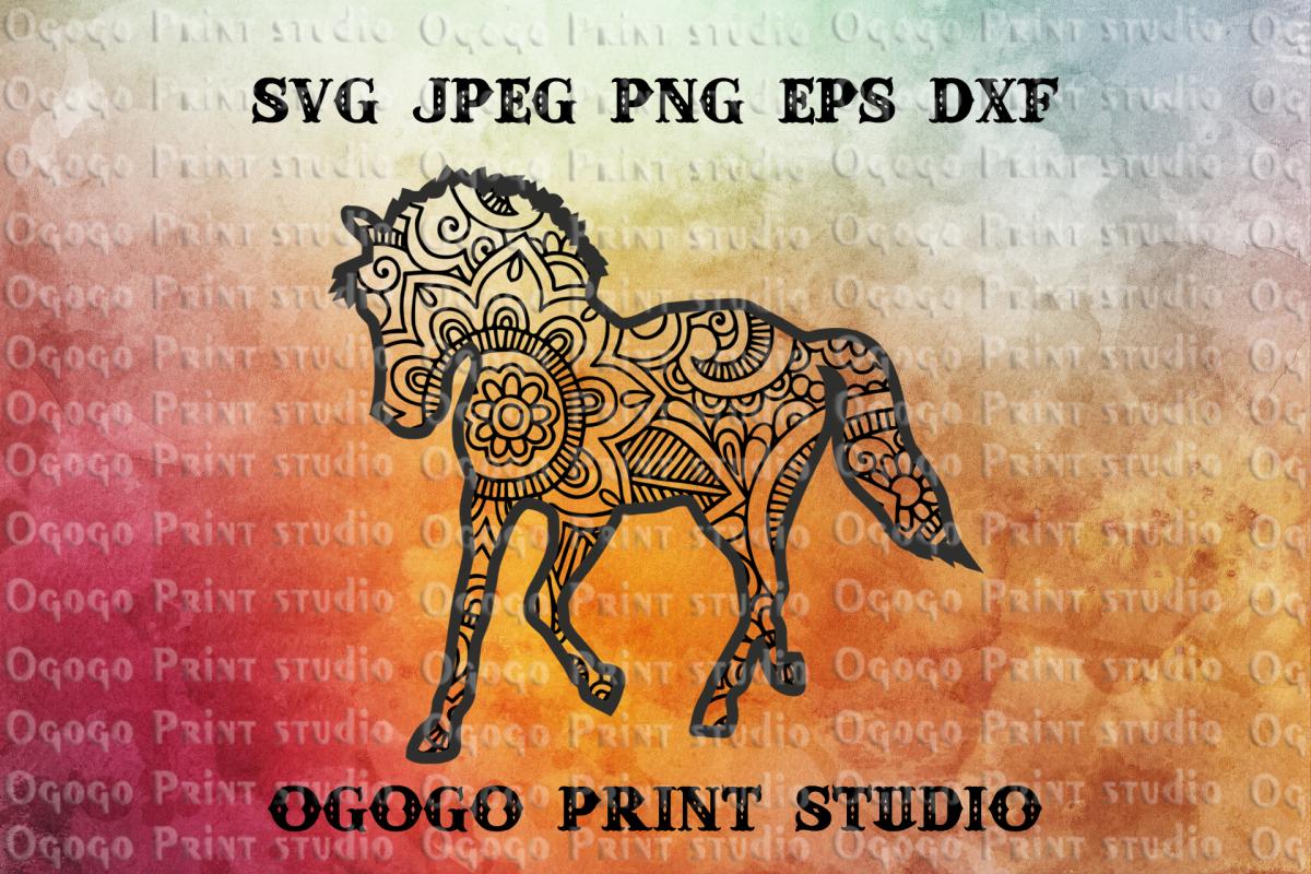 Unicorn svg, Zentangle SVG, Mandala Svg, Horse svg, Animal example image 1
