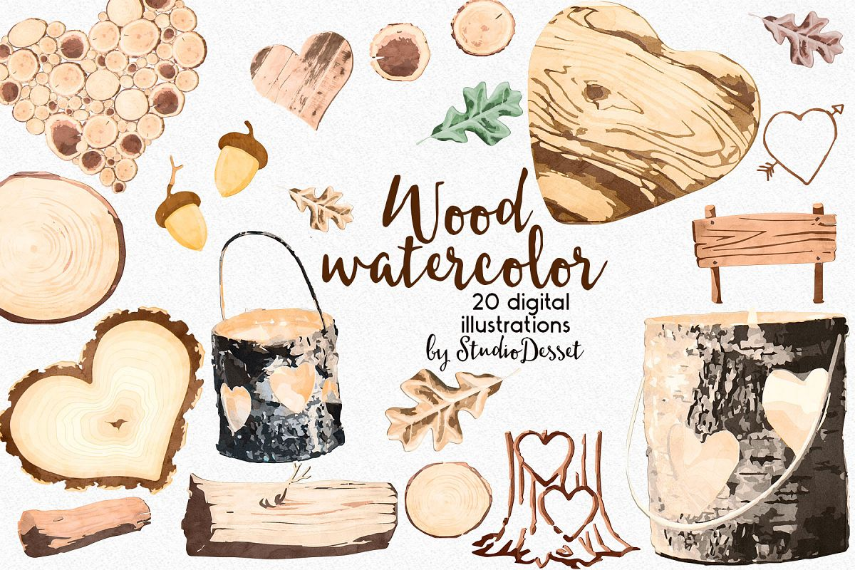 Rustic Wood Watercolor Illustrations example image 1
