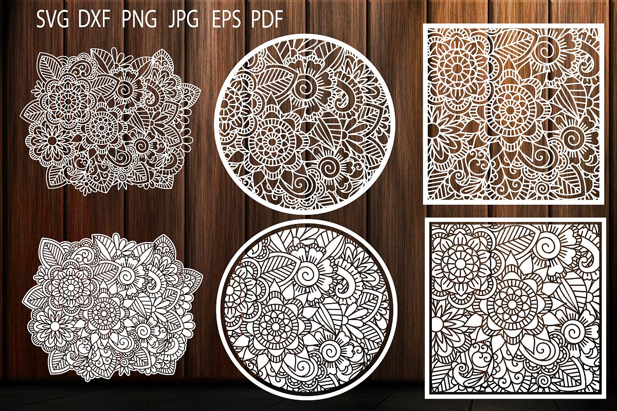 Floral Pattern, SVG, Flower Background, Zentangle, Template example image 1