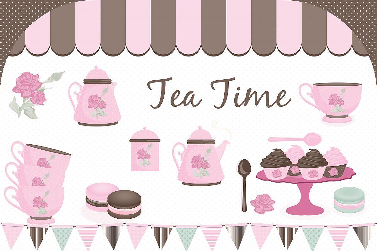 tea party clipart tea party graphics b design bundles