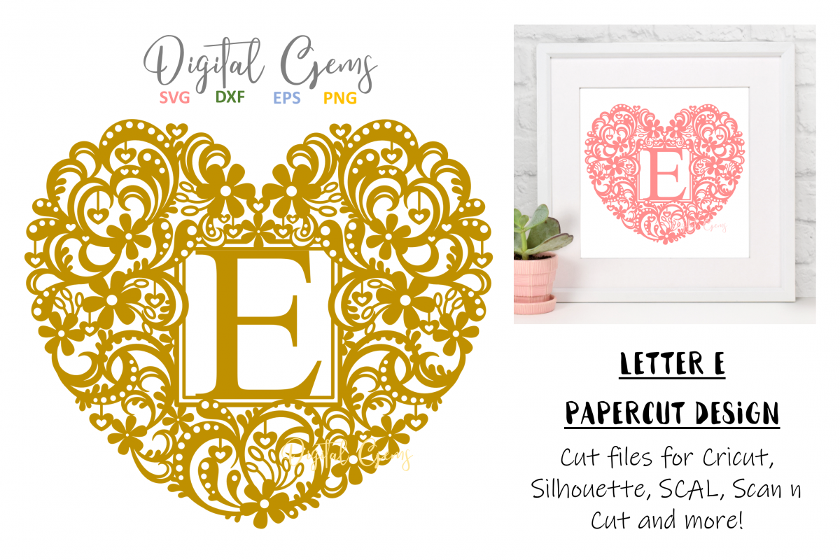 Letter E paper cut design. SVG / DXF / EPS / PNG files example image 1