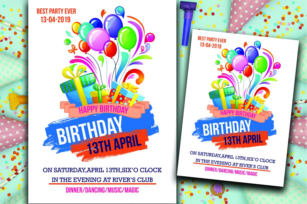 Marvelous Birthday Invitation Card 319785 Card Making Design Bundles Personalised Birthday Cards Paralily Jamesorg