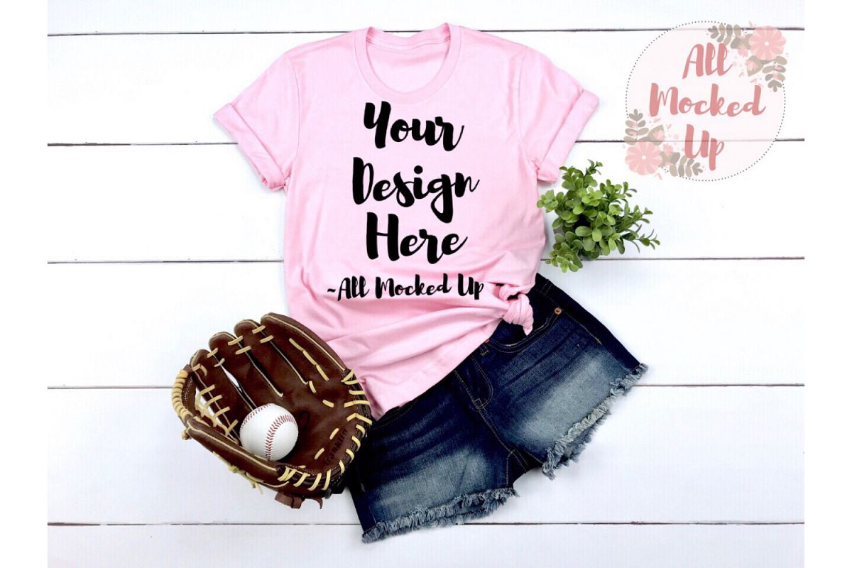 Bella Canvas 3001 PINK Shirt Mock Up - Baseball Theme 3/19 example image 1
