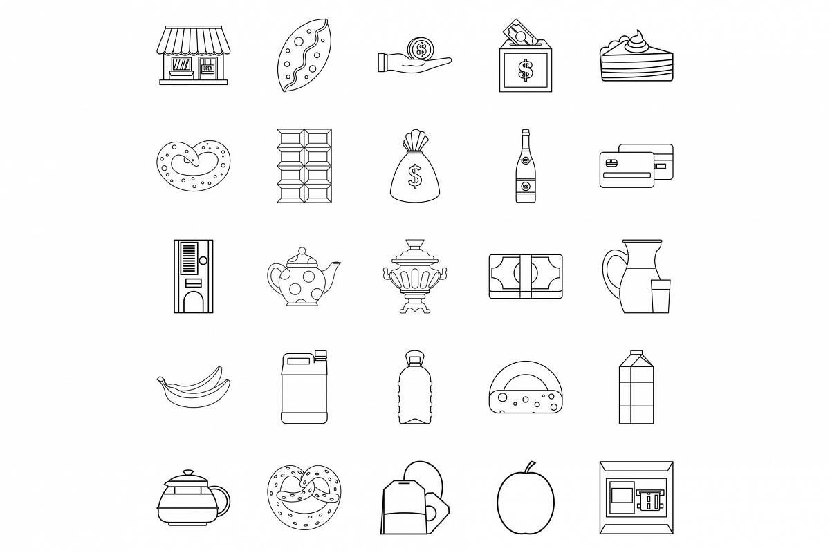 Street cafe icons set, outline style example image 1