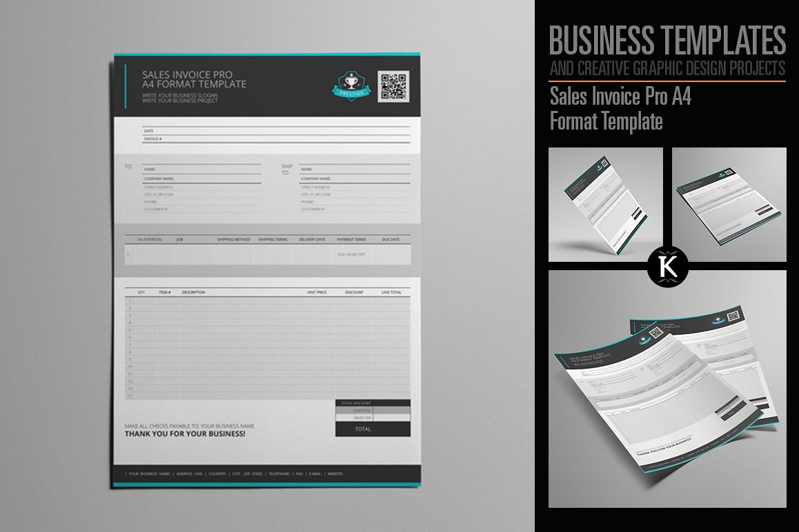 Sales Invoice Pro A4 Format Template example image 1