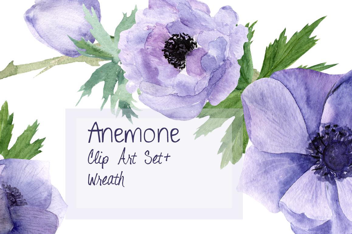 Purple Anemone Watercolor Clip Art Set + Wreath example image 1