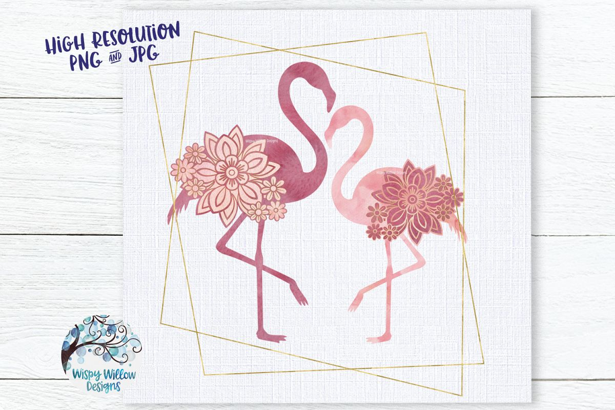 Watercolor Floral Flamingo with Gold Frame PNG | Sublimation example image 1