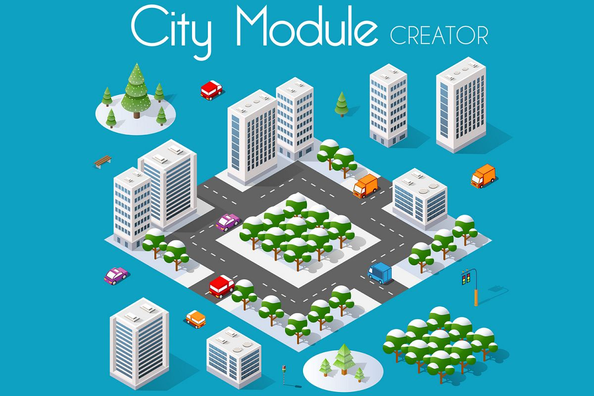 Isometric buildings, houses, roads set example image 1