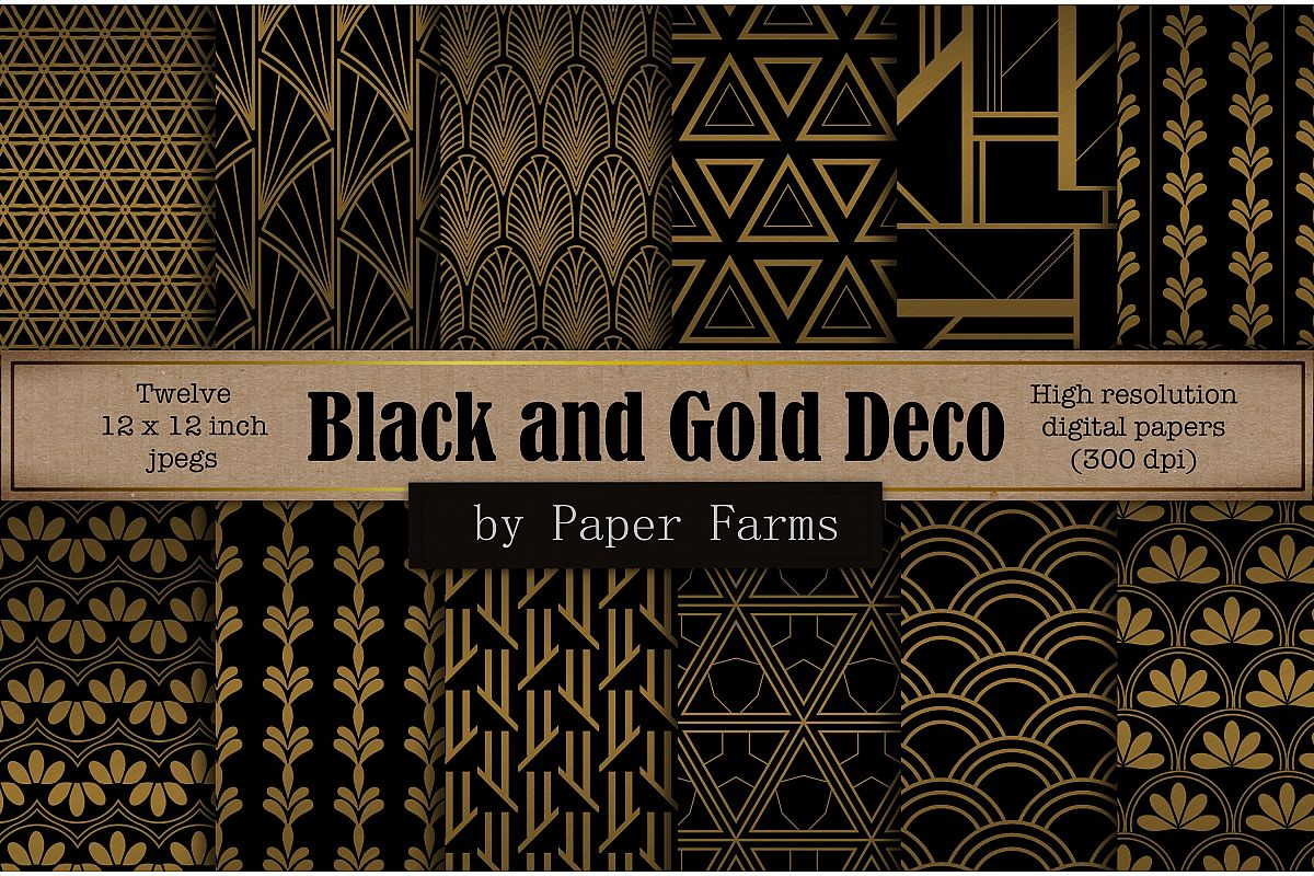 Black gold Art Deco backgrounds example image 1