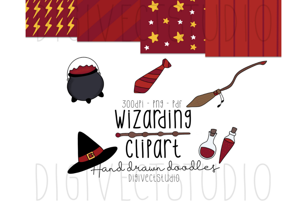 Wizarding Clipart Red - Witch Clipart - Wizard Clipart example image 1