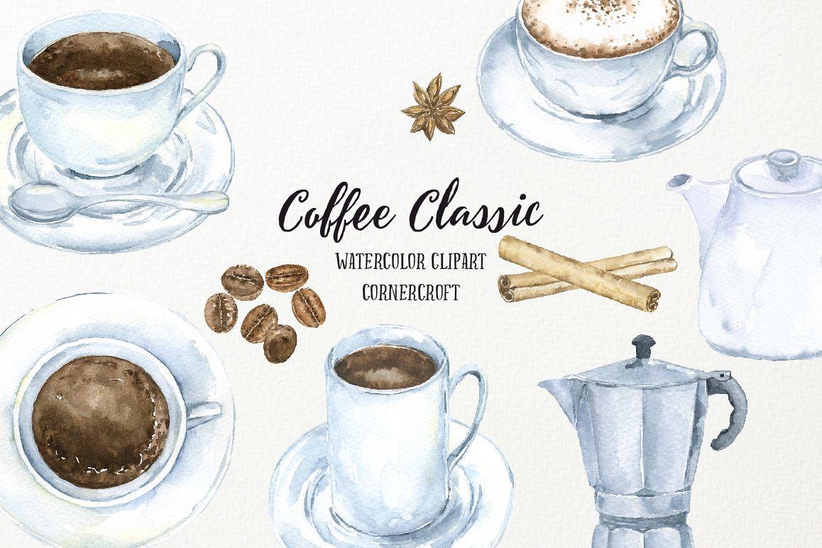 Watercolor Coffee Classic (41556) | Illustrations | Design ...
