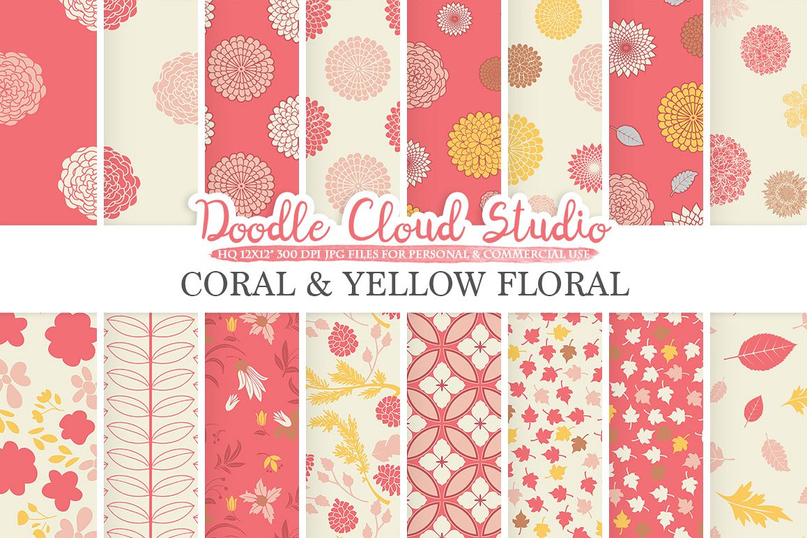 Coral And Yellow Floral Digital Paper Pink Floral Pattern Flowers
