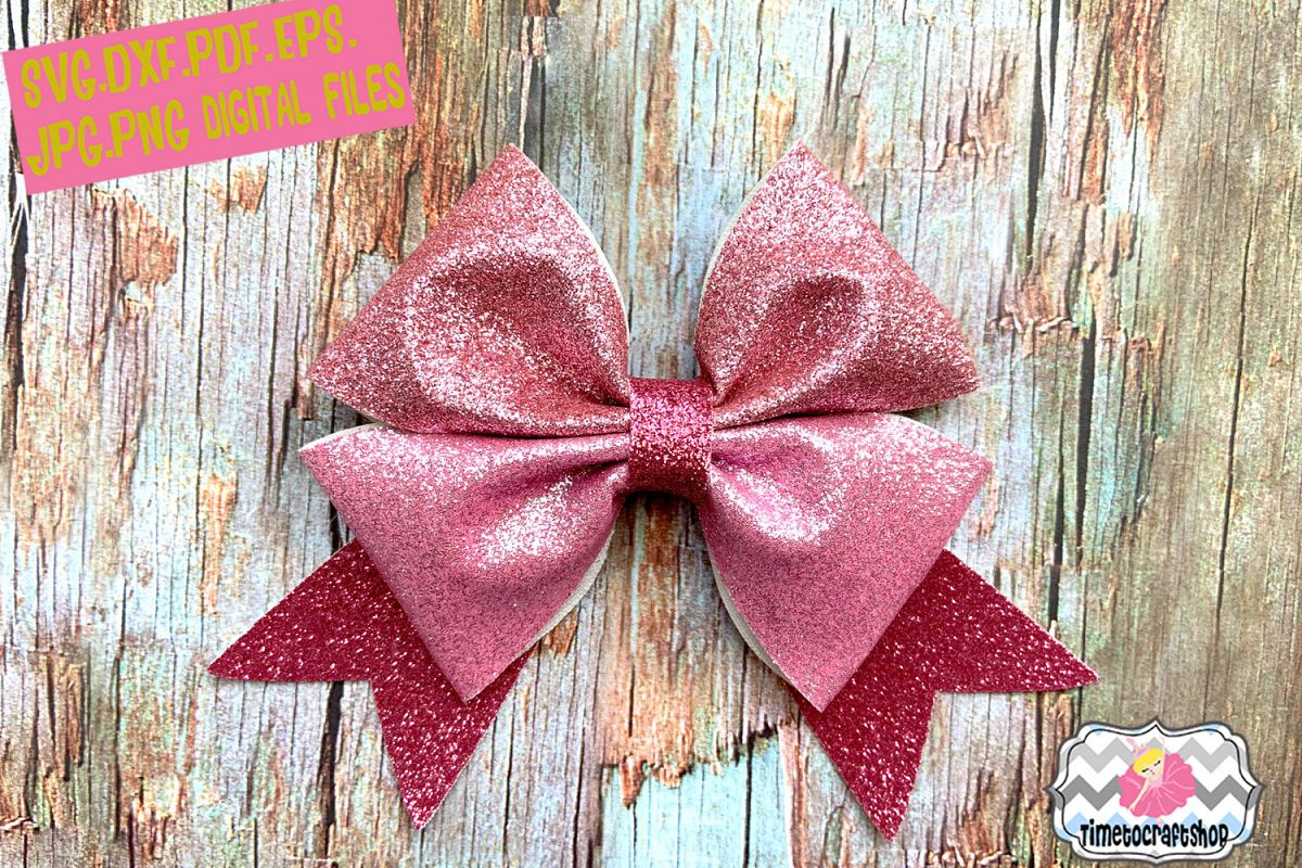 Double Pinch Hair Bow Template Glitter Example Image 1