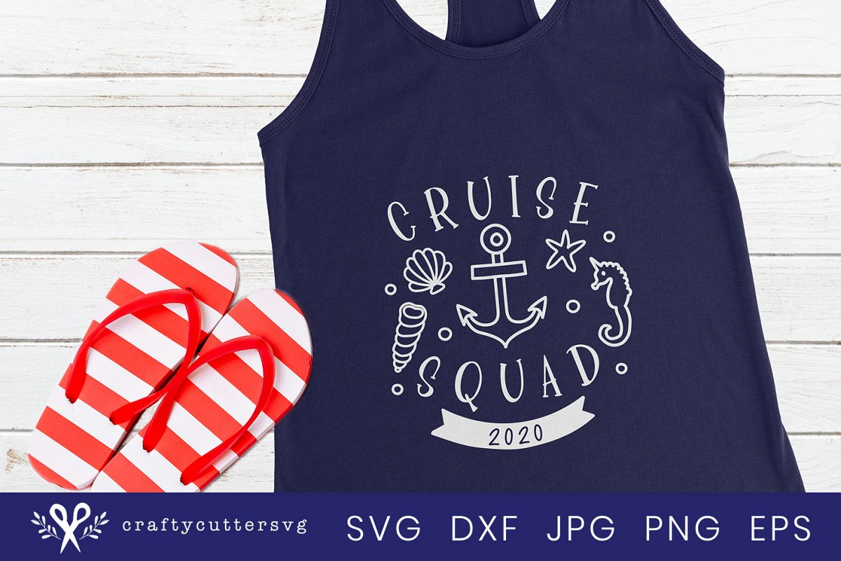 Cruise squad 2020 Svg Cut File Cocktail Shell Anchor Clipart example image 1
