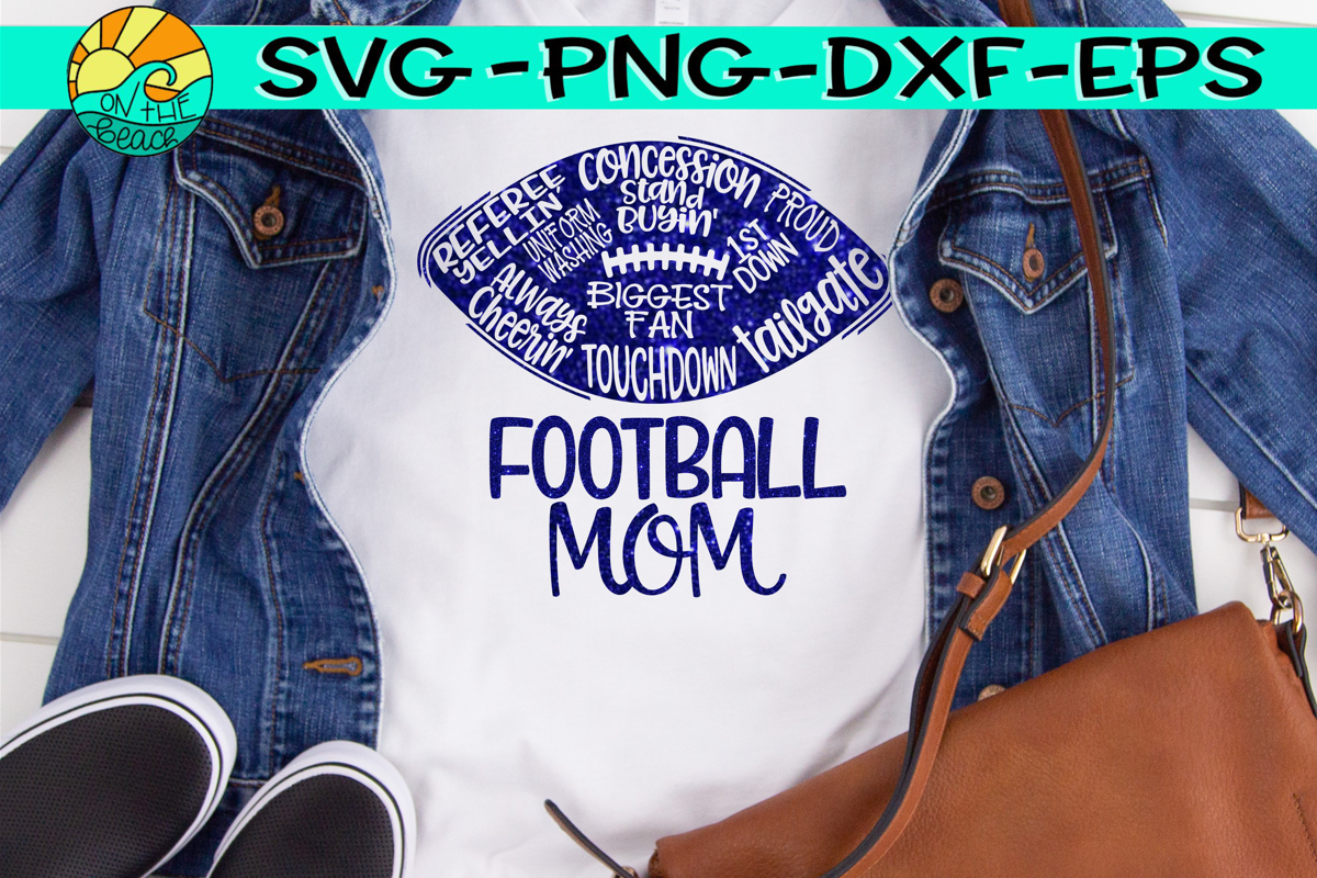 Football Mom - Words - SVG - DXF - EPS - PNG example image 1