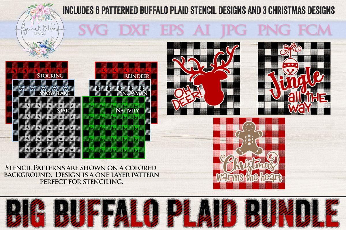 The Big Buffalo Plaid Christmas Bundle SVG DXF FCM example image 1