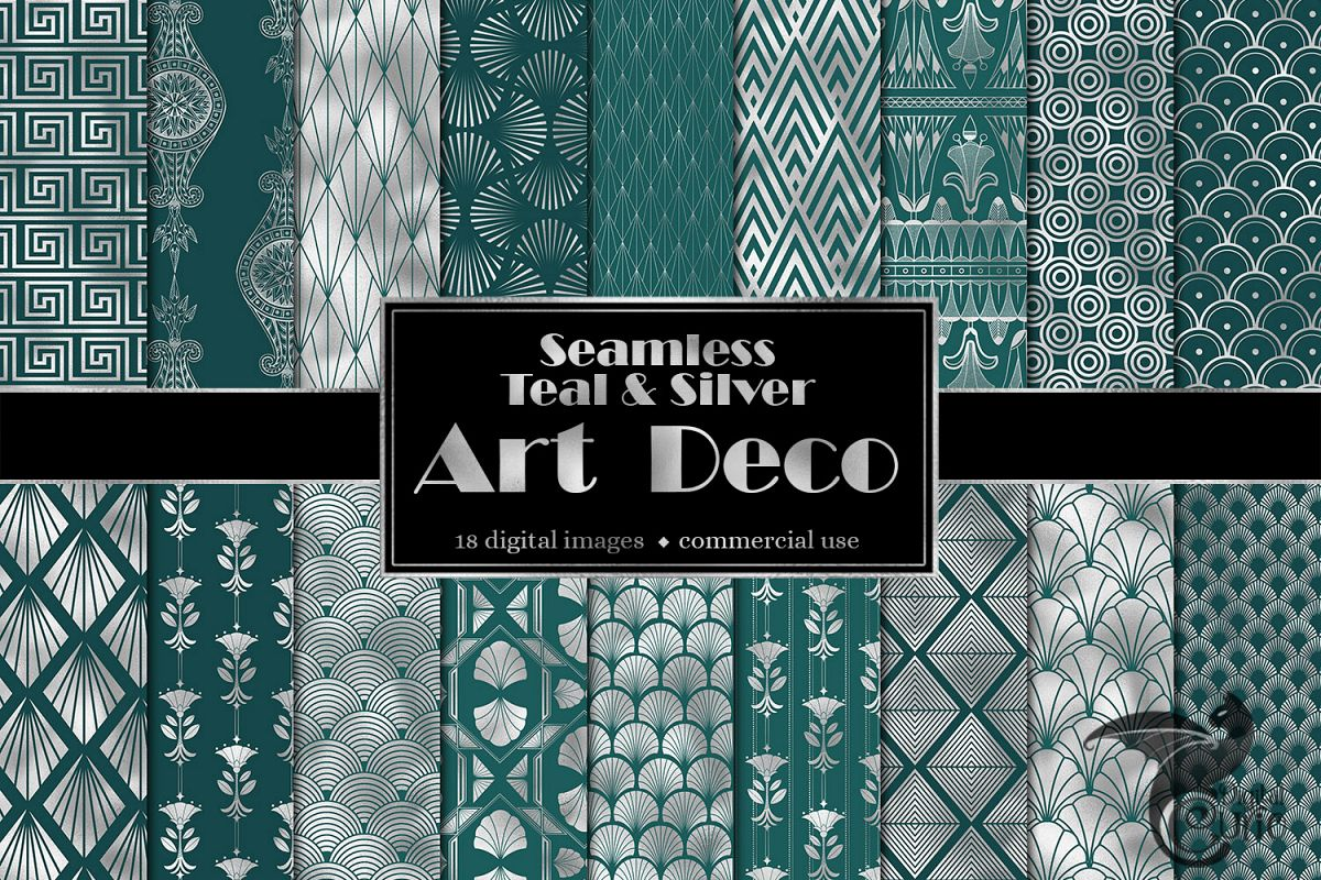 Teal and Silver Art Deco Digital Paper example image 1