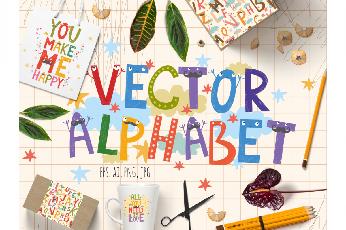 Alphabet for children (vector/png) example image 1