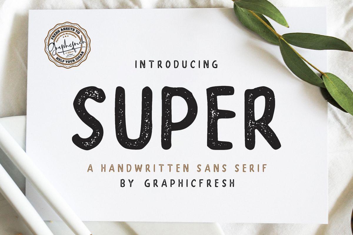 SUPER - A Handwritten Sans Serif example image 1