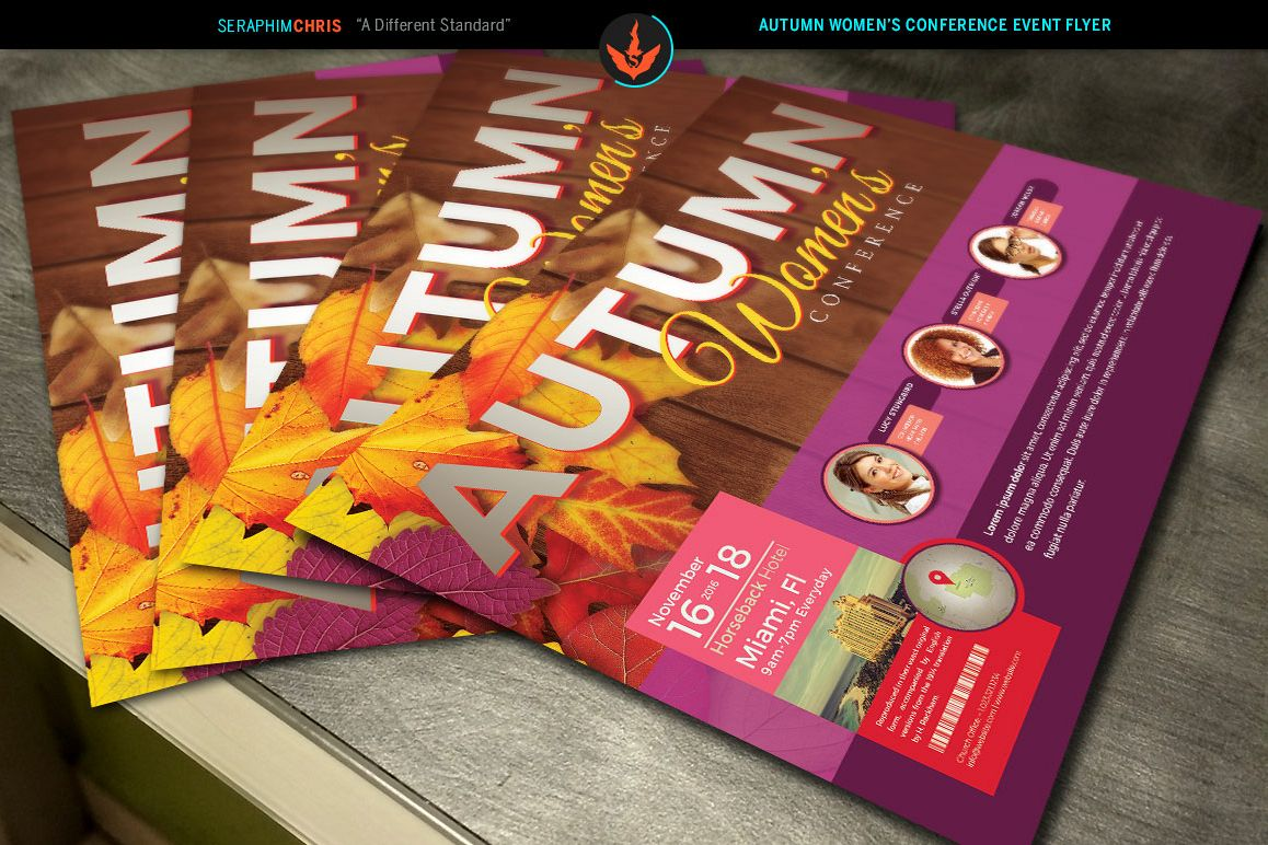 Autumn Womens Conference Flyer Photoshop Template