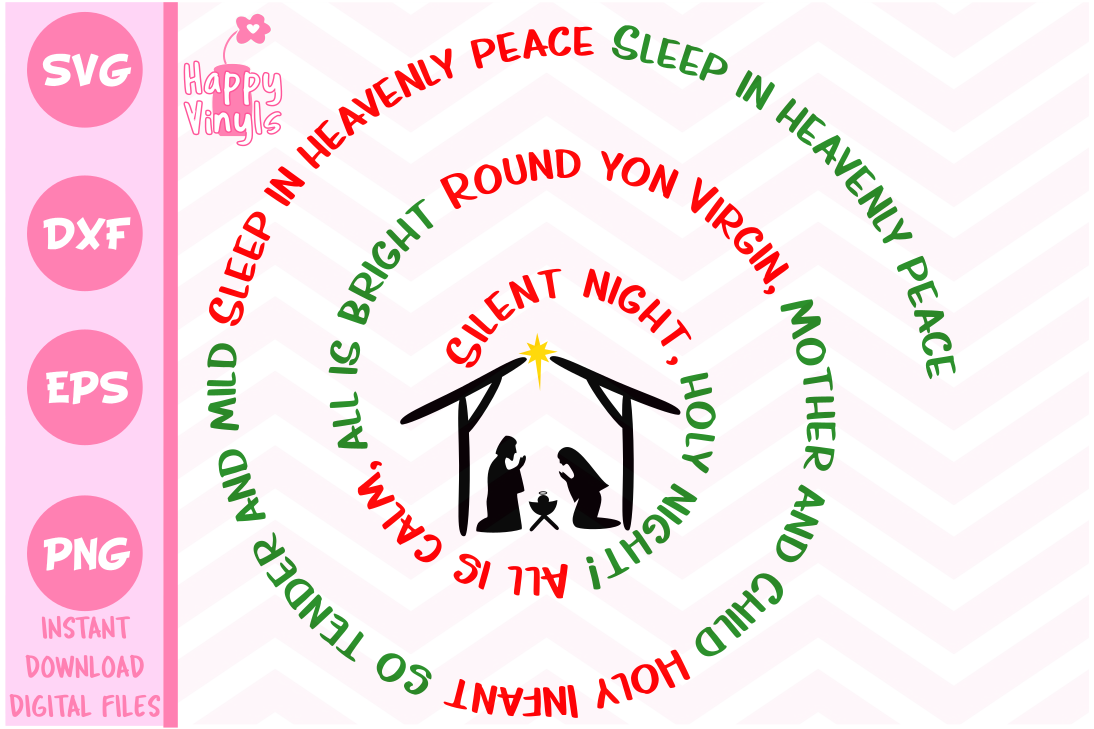 Christmas SVG Silent Night Spiral SVG example image 1