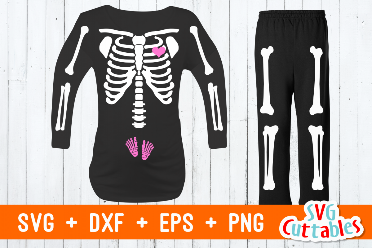Pregnant Skeleton t-shirt design | Cut File example image 1
