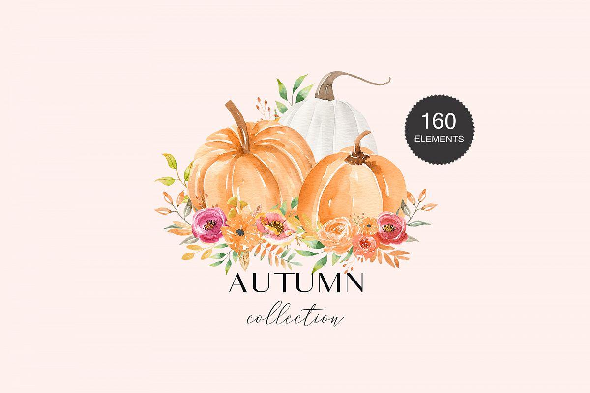 Autumn Watercolor Collection Pumpkins Arrangements example image 1