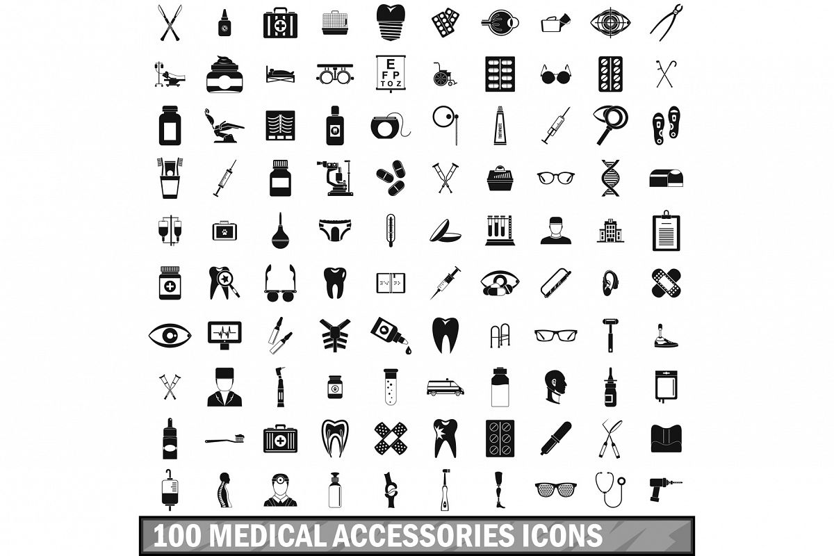 100 medical accessories icons set, simple style example image 1