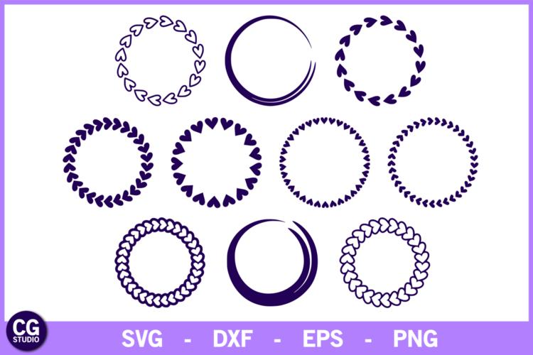 10 Heart monogram frames SVG - Valentine's day SVG cut file example image 1