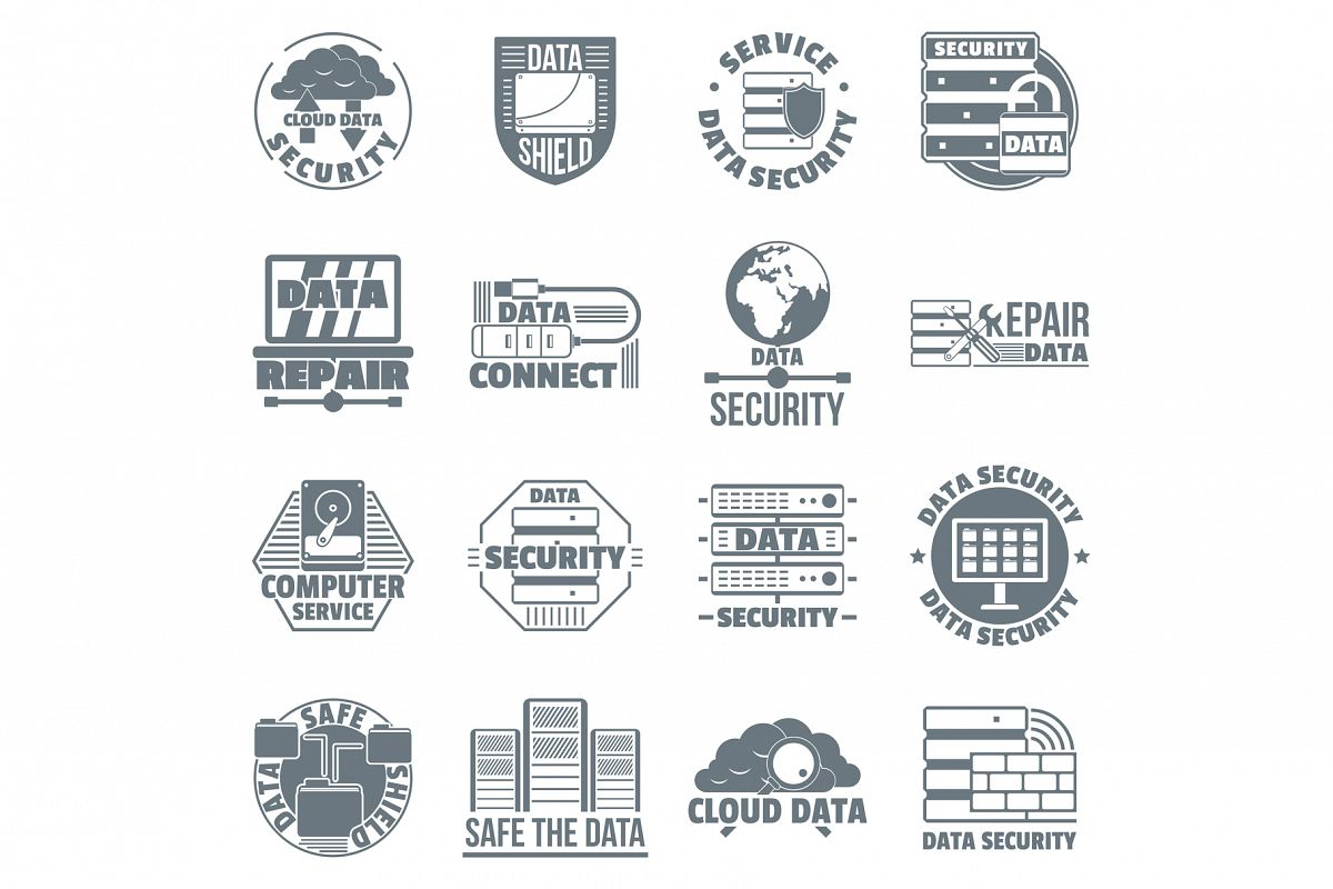 Database security logo icons set, simple style example image 1