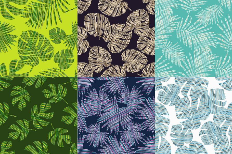Seamless Background With Decorative Leaves Pattern Palm Example Image 1