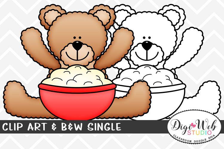 Clip Art & B&W Single - Thanksgiving Bear w/ Mashed Potatoes example image 1