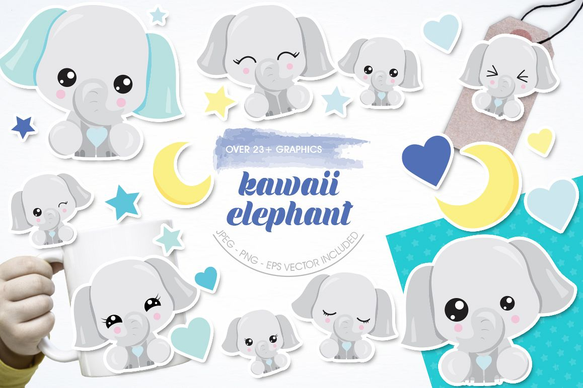 Kawaii Elephant graphics and illustrations example image 1