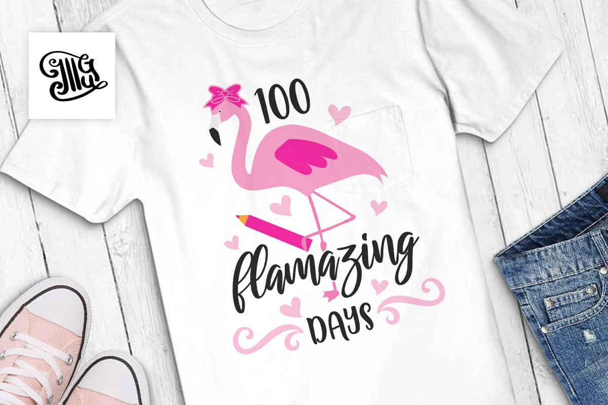 100 days of school for girl and teacher svg with flamingo example image 1
