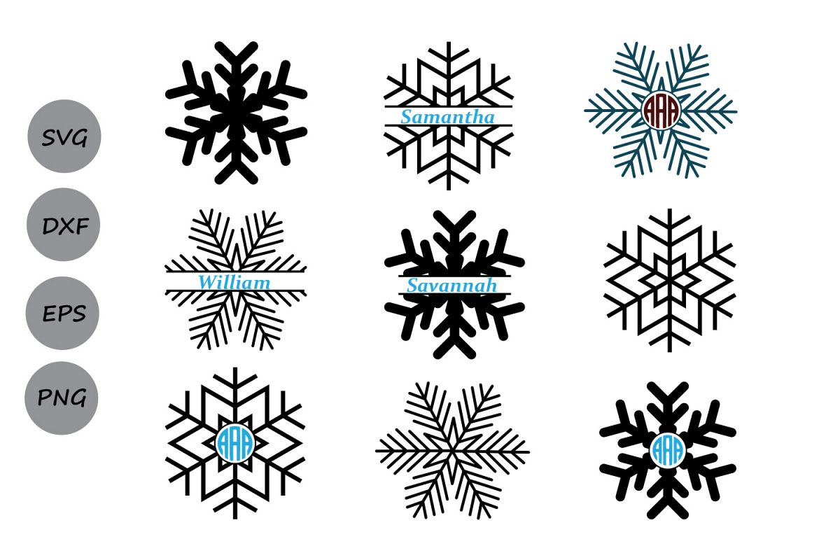 snowflake svg cut file  snowflake monogram svg  snowflakes svg  snowflake clipart  snowflake