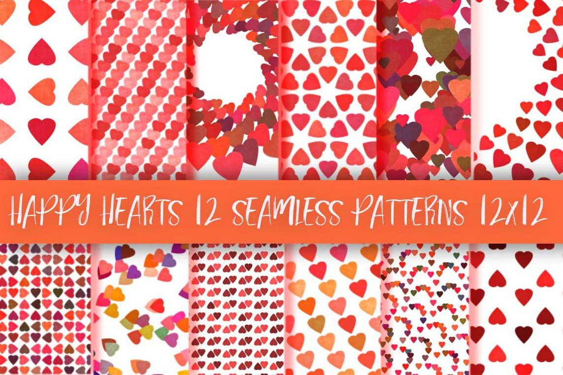 Happy hearts patterns collection example image 1