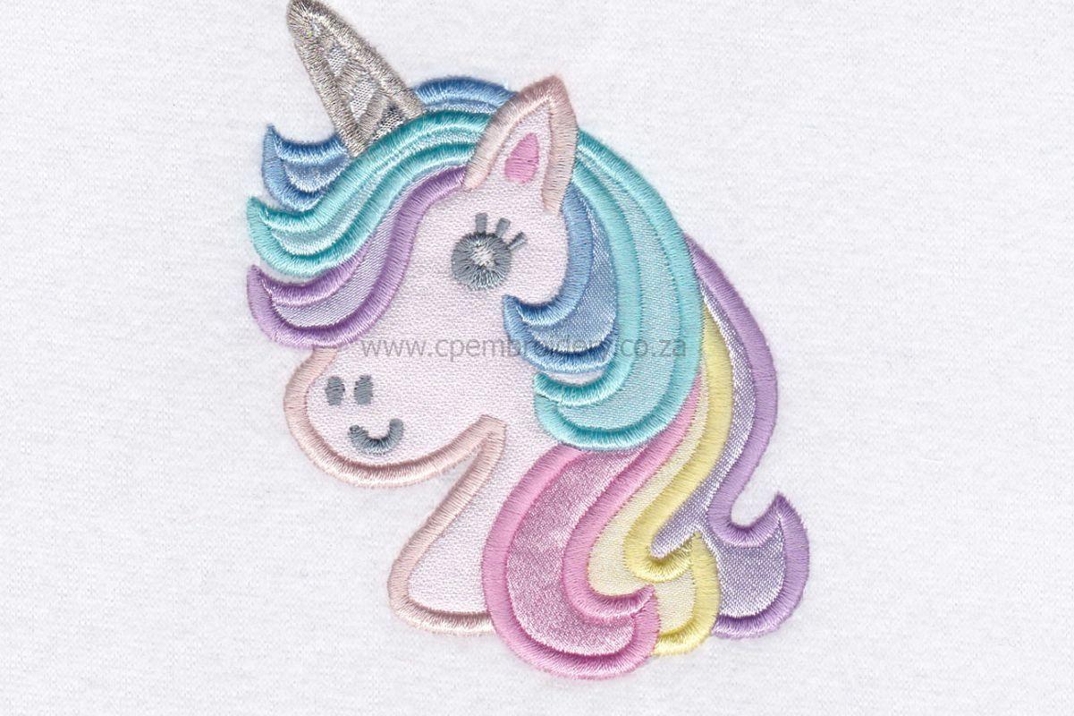 Unicorn Head Applique Machine Embroidery Design