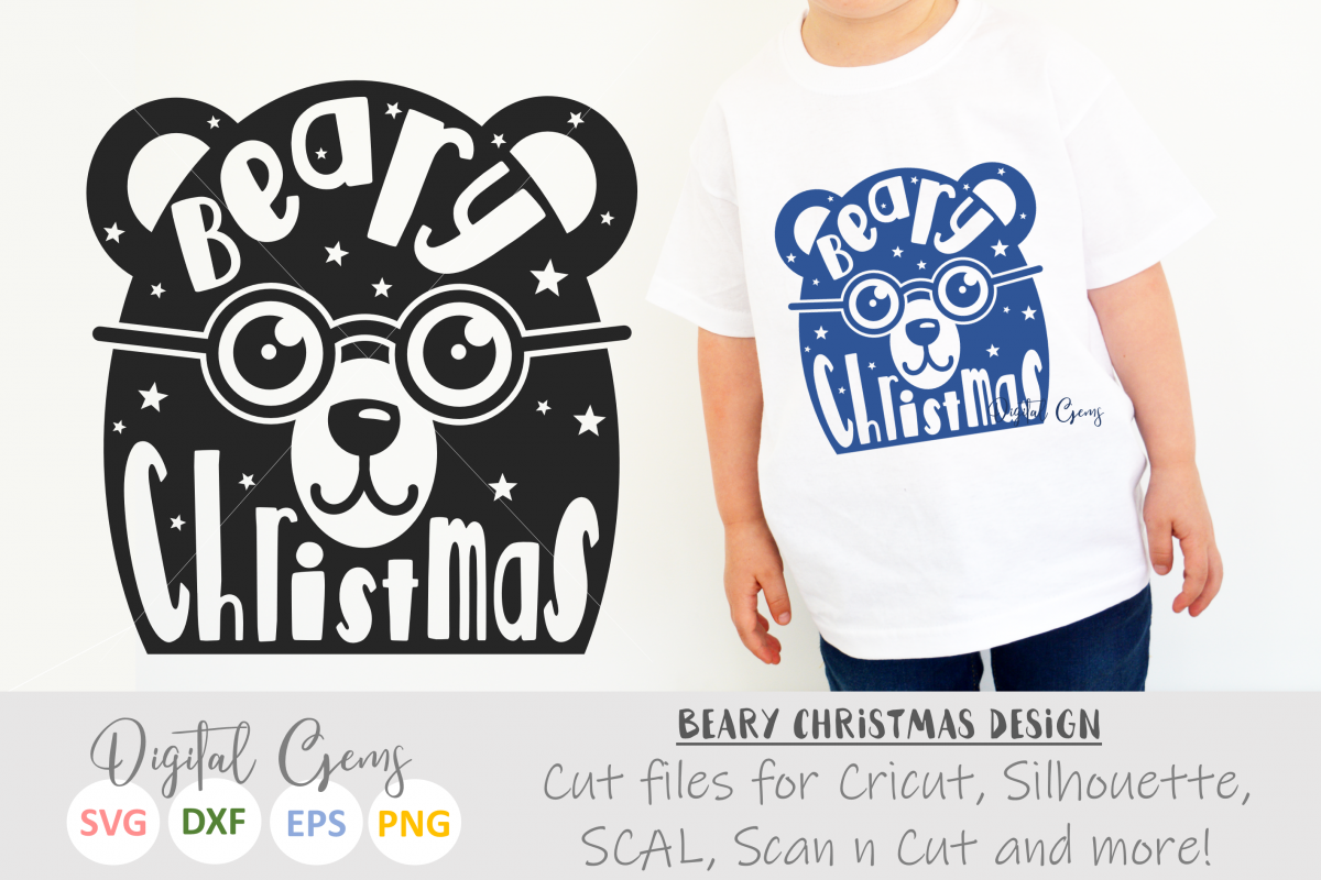 Beary Christmas SVG / EPS / DXF / PNG Files example image 1