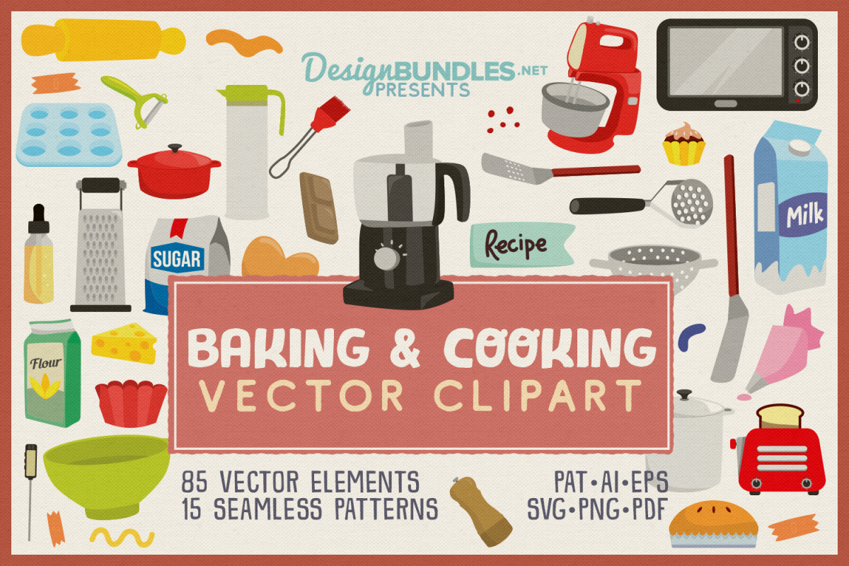 85 Baking and Cooking Vector Clipart & Seamless Patterns example image 1