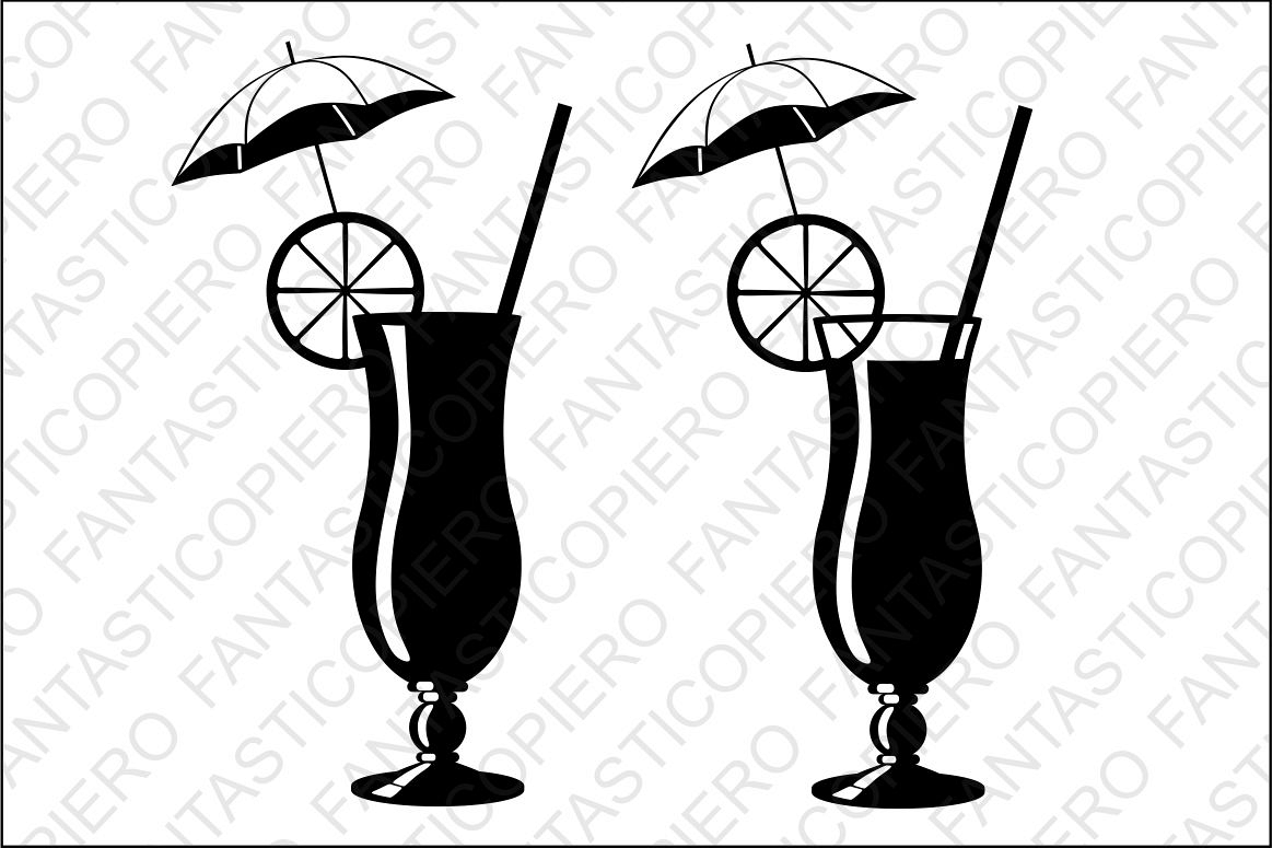 Cocktail SVG files for Silhouette and Cricut. example image 1